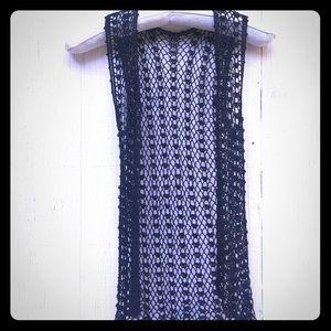MD/LG Vintage beaded crochet knotted black vest